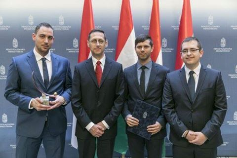 """Award for Successful Enterprises in """"Startup"""" category. We receive the award from Varga Mihály Minister of National Economy, Hungary."""