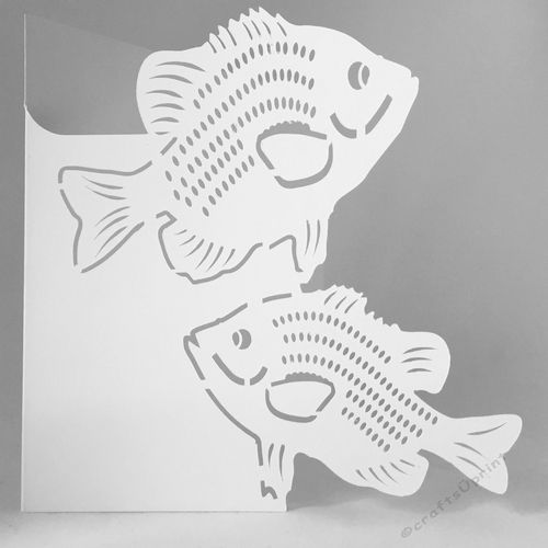 Perfect Card For The Fisherman The Template Has The Over The Edge Cutout Of Two Bluegill Add Your Own Embellishments Sent Fishing Cards Cards Card Templates