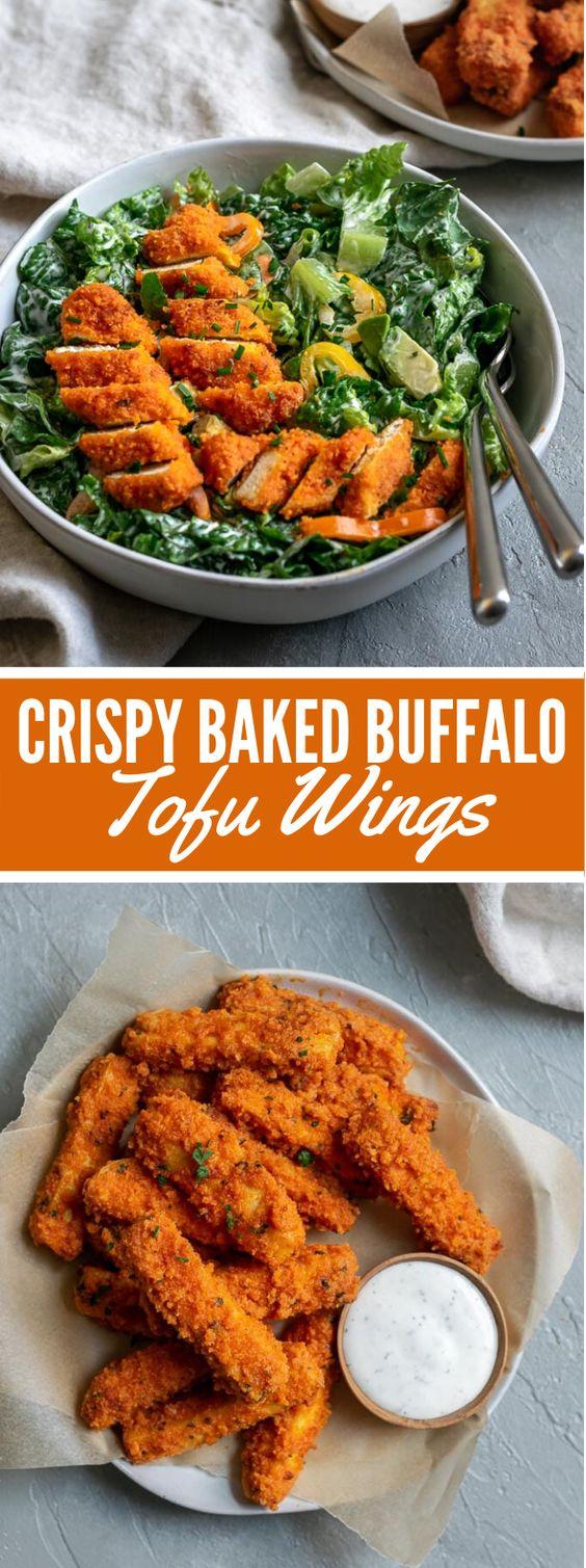 CRISPY BAKED BUFFALO TOFU WINGS #vegetarian #appetizers