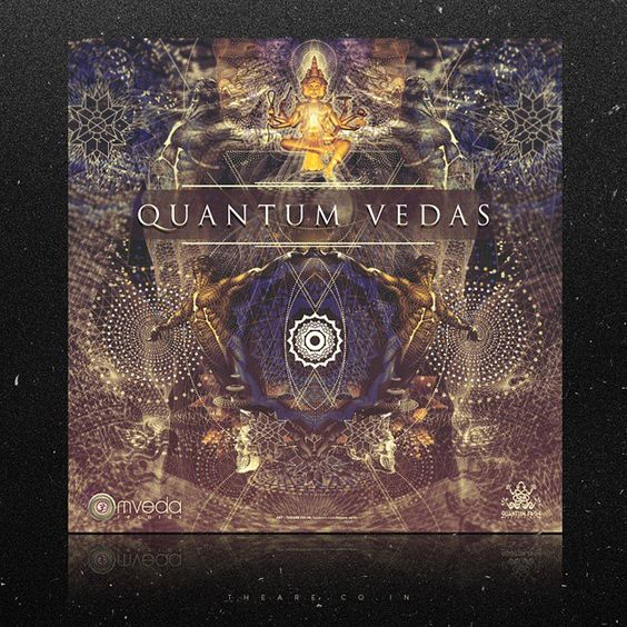 album cover for : QUANTUM VEDAS - VARIOUS ARTISTS. OMVEDA RECORDS. out now.  #one_o_eight #108 #theare #psy #psychedelic #trippy #albumcover #coverart #digitalart #digital #lsd #newtrip #quantum #vedas #omvedarecords #om #habitsofimagination #intense #india #brahma #thecreator #new #art #serenity #hardcore #soon