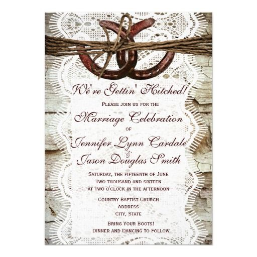 Rustic Country Horseshoe Wedding Invitations SOLD on Zazzle