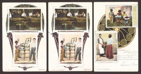 """(3) Cartões Postais """"Costumes"""" - Nº 27 e 69(2) - Rio de Janeiro início do Século 20 ."""