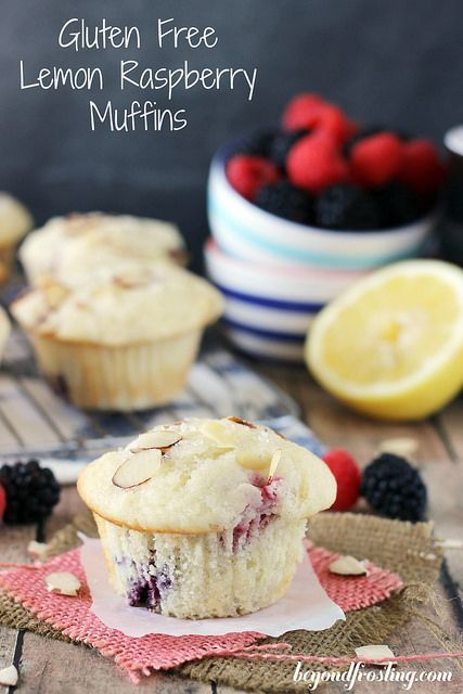 A gluten-free raspberry muffins flavored with almond and lemon.