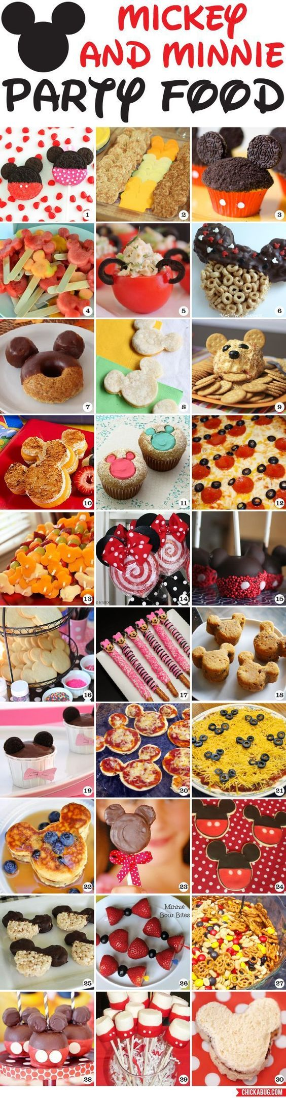 30 awesome Mickey Mouse and Minnie Mouse party food ideas!   Disney Party Ideas   Disney Party Theme   Disney Party Food   Disney Party Decorations  