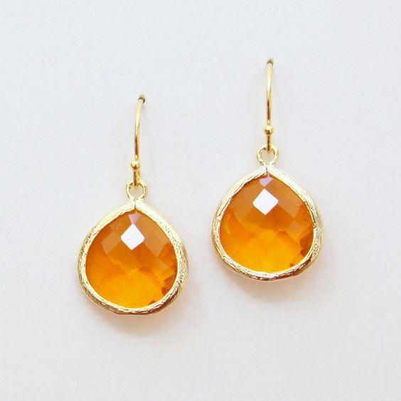 Gemma. Tangerine Orange Faceted Glass Stone Heart Pendant Earrings Gold. $28.00, via Etsy.