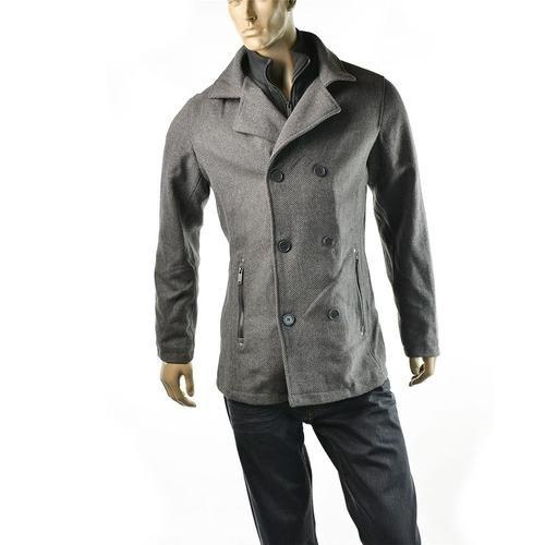 Guess Coat Mens Tyson Herringbone Gray Wool Peacoat | Guess at