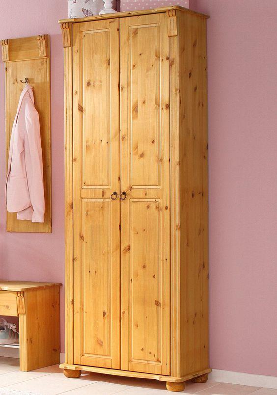 Details:  2 Türen, 1 Ablage, 1 Ausziebahre Kleiderstange, FSC®-zertifiziert,  Gesamtmaße (B/T/H):  67/37/182 cm,  Material:  FSC®-zertifiziertes Massivholz: Kiefer, Griffe aus Metall,  Informationen zu Lieferumfang und Montage:  Selbstmontage mit Aufbauanleitung, Montagematerial inklusive, Alles ca.-Maße,  FSC®-zertifiziertes Massivholz:  Das Holz dieser Produkte stammt aus vorbildlich bewirtsc...