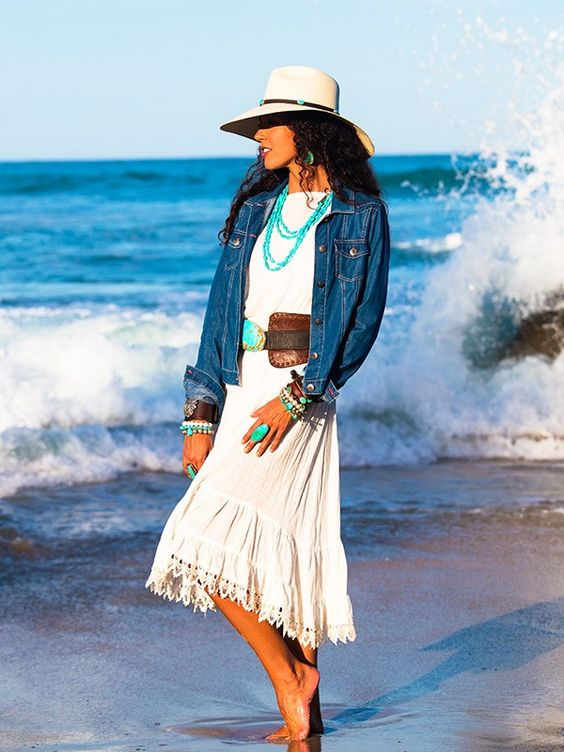 ~ White Aspen Dress by Brit West.  Looks great when teamed with a denim jacket, Panama hat, leather belt and her turquoise jewelry.  This chic combo is Southwestern Americana at its best. ~