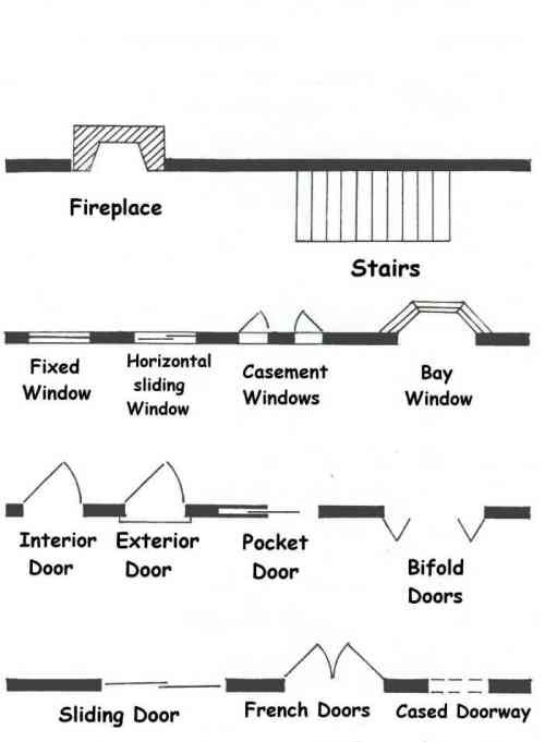 Common Architectural Floor Plans Symbols For Doorways Stairs Fireplaces Architecture Symbols Floor Plan Symbols Floor Plans