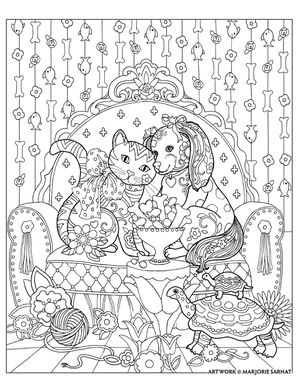 cat and dog and treats ~ Pampered Pets Adult Coloring Book by Marjorie Sarnat:
