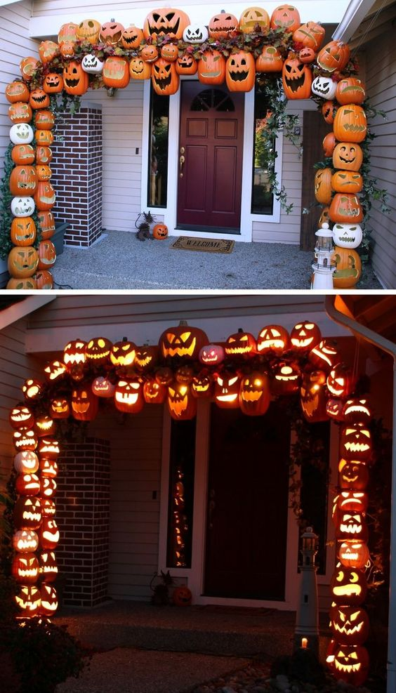 DIY Illuminated Pumpkin Arch Tutorial from Don Morin. 30 foam pumpkin were used to create this as well as PVC pipe and rebar.