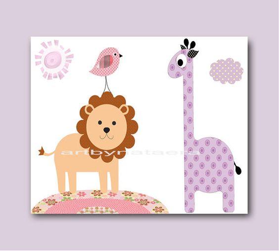Lion Giraffe Nursery Baby Girl Nursery Wall Art by artbynataera