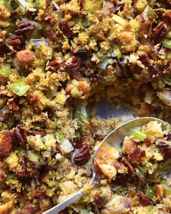 The traditional Thanksgiving flavors in this stuffing are enhanced by cooking the vegetables in bacon fat. Use your favorite cornbread for this recipe, whether homemade or store-bought.