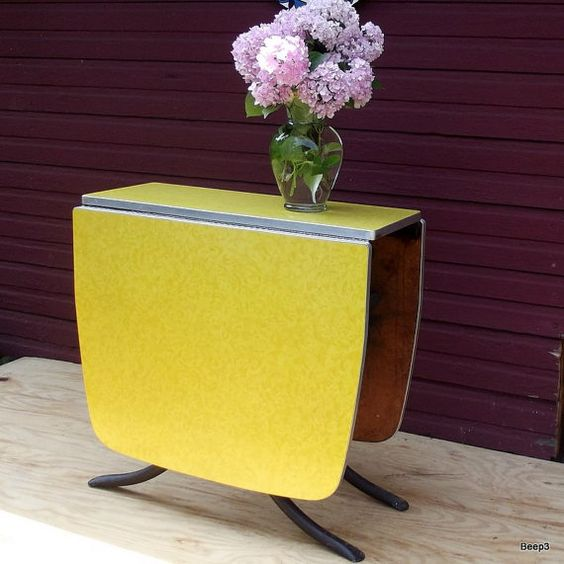 vintage yellow formica drop leaf gate leg kitchen table by beep3 more