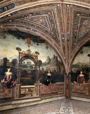 Moretto de Brescia - Female portraits in front of landscapes  1543-46 Fresco Palazzo Martinengo-Salvadego, Brescia  O afresco é uma combinação de tinta a óleo e têmpera, pintado nas paredes do palácio Martinengo-Salvadego.  Estimasse que as oito pessoas pintadas sejam filhas ou esposas constituintes da familia.
