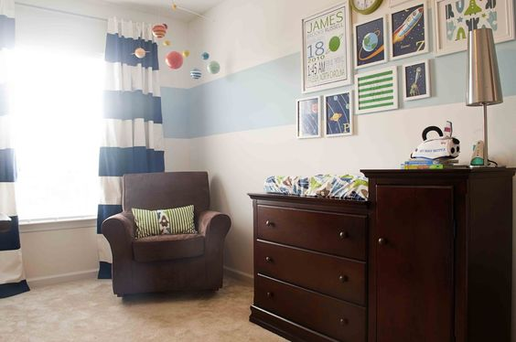 Cute little boy nursery. I love the planets hanging from the ceiling.