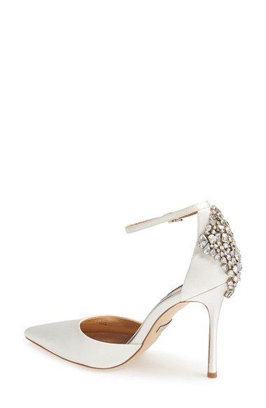 Gorgeous jeweled back wedding shoes by Badgley Mischka