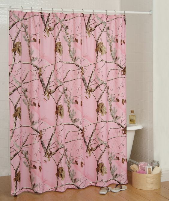 realtree ap pink camouflage shower curtain  camo bath accessories, Home design