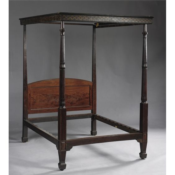 A GEORGE III MAHOGANY AND PAINTED TESTER BED, CIRCA 1800