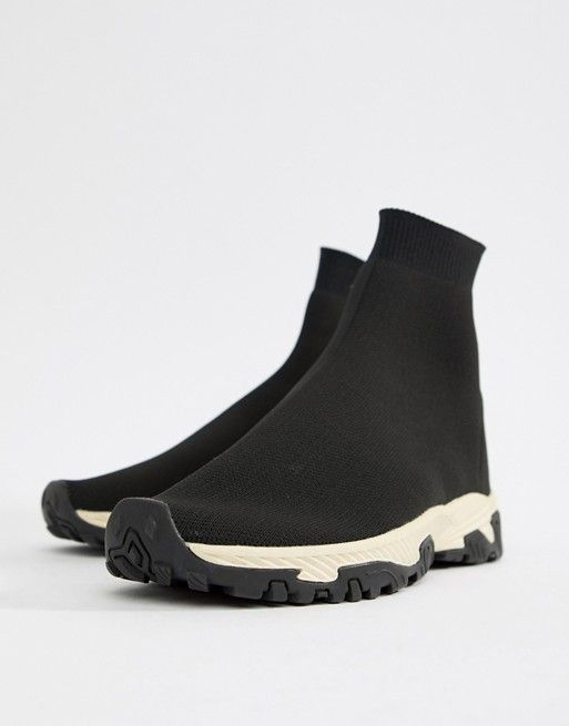 Sock Sneakers In Black With Chunky Sole