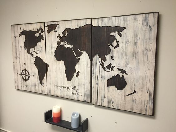 Rustic world map wall art carved home decor panel