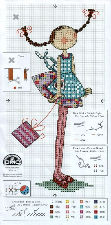 Cross Stitch girl with pigtails and a purse. Sweet: