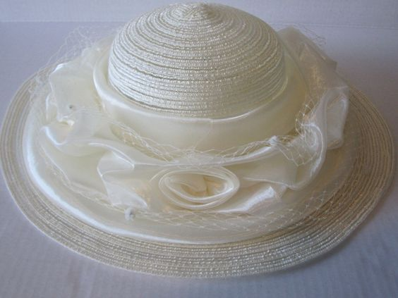 Cream Satin Hat, Creamy Straw with Satin Roses,  Birdcage Netting, Haute Couture Hat, Church Hat, Derby Hat, Tea Party Hat, Hand made by AshTreeMeadowDesigns on Etsy