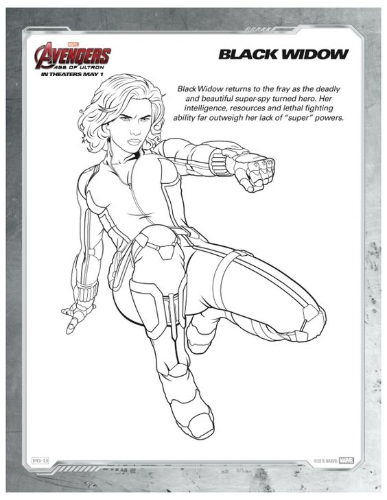 Avengers Coloring Pages Pdf : Marvel avengers black widow printable coloring page