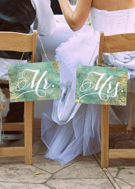 Travel Themed Wedding Chair Signs! Set of 2 PRINTABLE Mr. & Mrs. Signs - Instant Download!:
