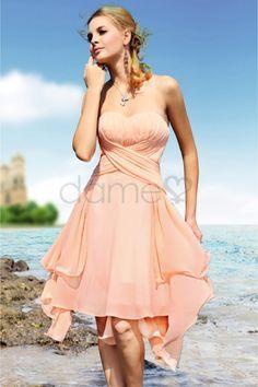 Herz-Ausschnitt Chiffon natürliche Taille ärmelloses kleines trägerloses Homecoming Kleid