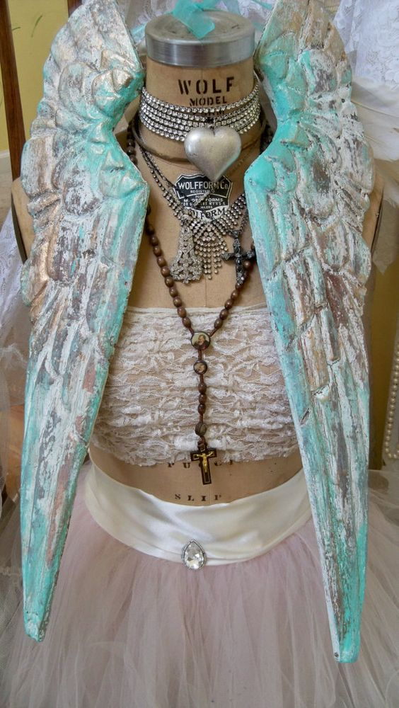 Sea foam white wooden angel wings distressed by AnitaSperoDesign, $120.00