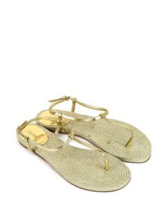 Gucci Flat Leather/Straw Thong Sandal, Gold