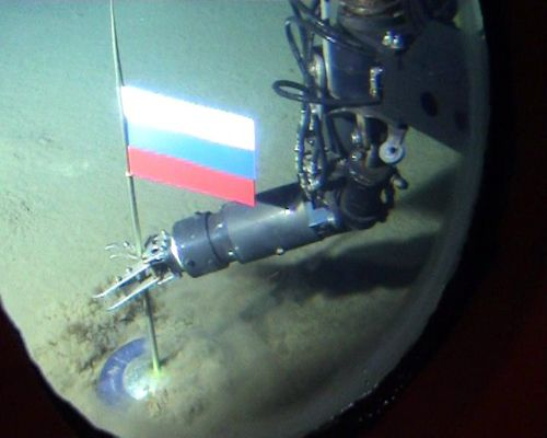 Russian flag robotically placed on the seabed at the North Pole, 2007