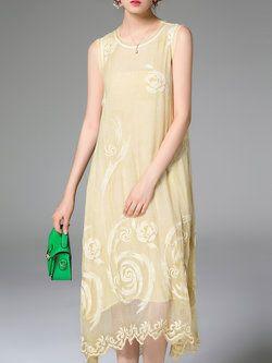 Yellow Silk Two Piece Sleeveless Midi Dress