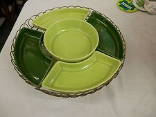"VINTAGE RETRO 12"" LAZY SUSAN 5 SNACK TRAY DIP GREEN RARE metal carousel mid cent"