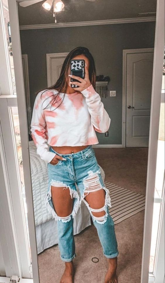 Look elegante com calça jeans destroyed