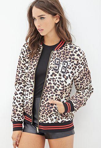 Leopard Print Bomber Jacket | FOREVER21 - 2000082866 | Stuff to