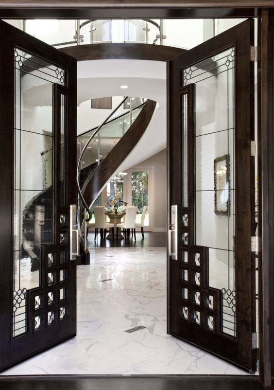 Stunning Art Deco Entrance Black And Marble Home