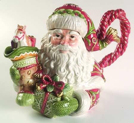 Fitz/Floyd Winter Holiday Santa Teapot & Lid