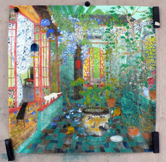 """Fang Xiang Painting """" A Beautiful Courtyard """":"""