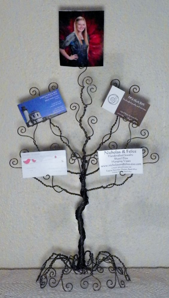 Wire jewelry tree stand.. earring, necklace organizer, display, sculpture, card holder ..made to order..