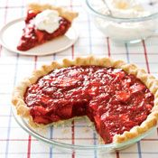 Icebox Strawberry Pie,   Pie uses unflavored gelatin instead of flavored jello. Use my own pie crust though.