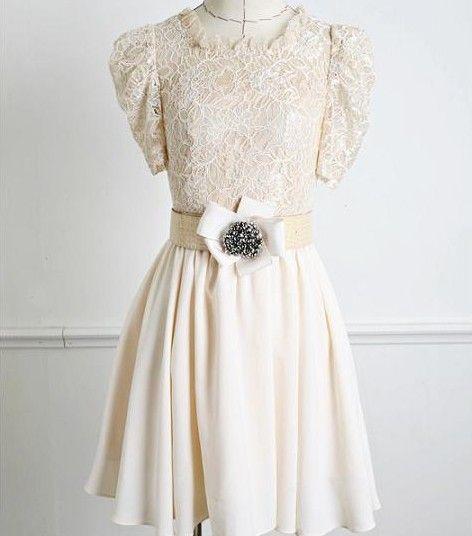 Hot Sale Lace Puff-Ärmeln Kleid mit Gürtel weiß-