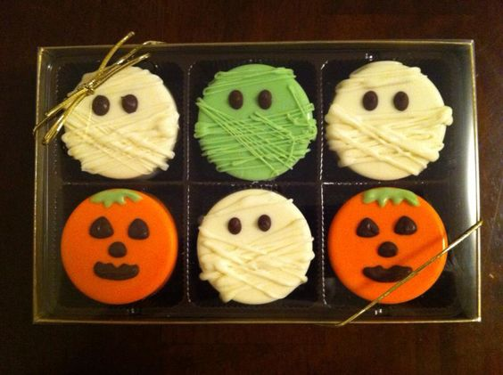 Chocolate covered Halloween Oreos