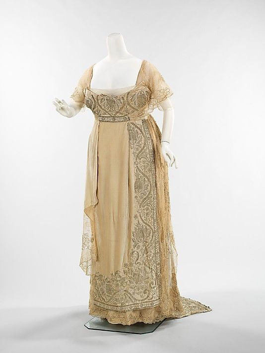 Dress, Evening  Attributed to Callot Soeurs. Attributed to Madame Marie Gerber (French) Date: 1910–12 Culture: French Medium: silk, metal, pearl beads, rhinestones Dimensions: Length at CB: 74 1/2 in. (189.2 cm) Credit Line: Brooklyn Museum Costume Collection at The Metropolitan Museum of Art.