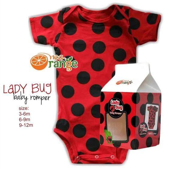 Lady bug Baby Romper pilihan size : 3-6m , panjang (dari bahu-selaka) : 40cm , lebar : 20cm (stretch 24cm) 6-9m , panjang (dari bahu-selaka) : 44cm , lebar : 22cm (stretch 26cm) 9-12m , panjang (dari bahu-selaka) : 48cm , lebar : 24cm (stretch 29cm) harga 50.000/pcs bahan kaos katun, menyerap keringat, dan tidak panas dipacking dalam box susu sapi lucu, sehingga sangat berkesan untuk kado  Cp = 0895327638513 (13 angka)