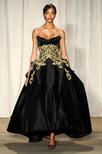 Jourdan Dunn walks the runway at the Marchesa Fall 2013