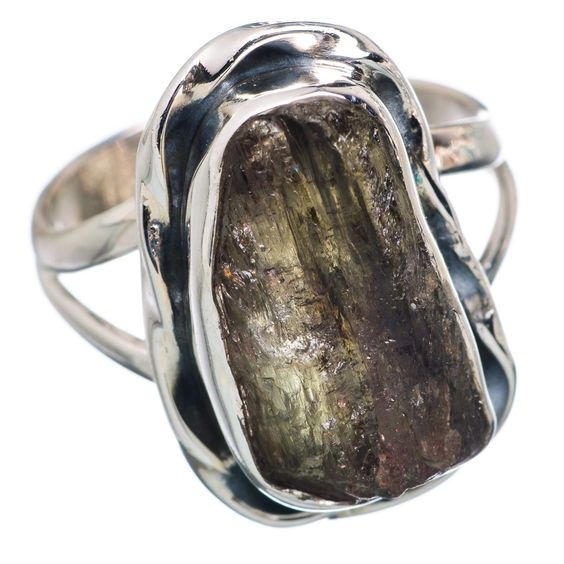 Rough Green Tourmaline 925 Sterling Silver Ring Size 8 RING695203