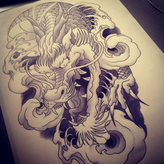 Freehand drawing of a Japanese Dragon for a customer in a few months time.