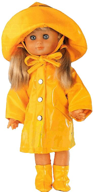 """In French.  Free pattern pieces and instructions for 15"""" doll raincoat, hat and boots    Patron pour habit de pluie pour poupée de 40cm"""